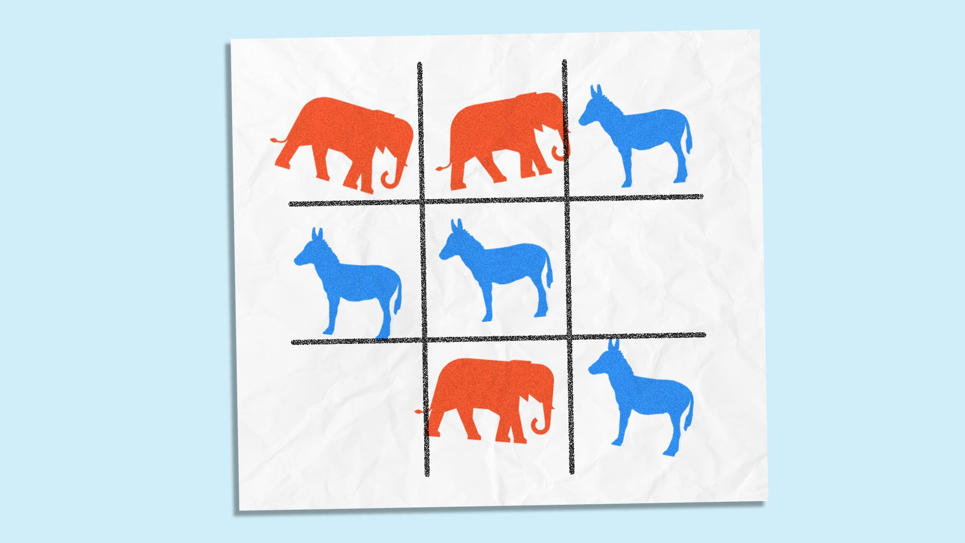 Illustration of unwinnable tic-tac-toe board with elephants and donkeys