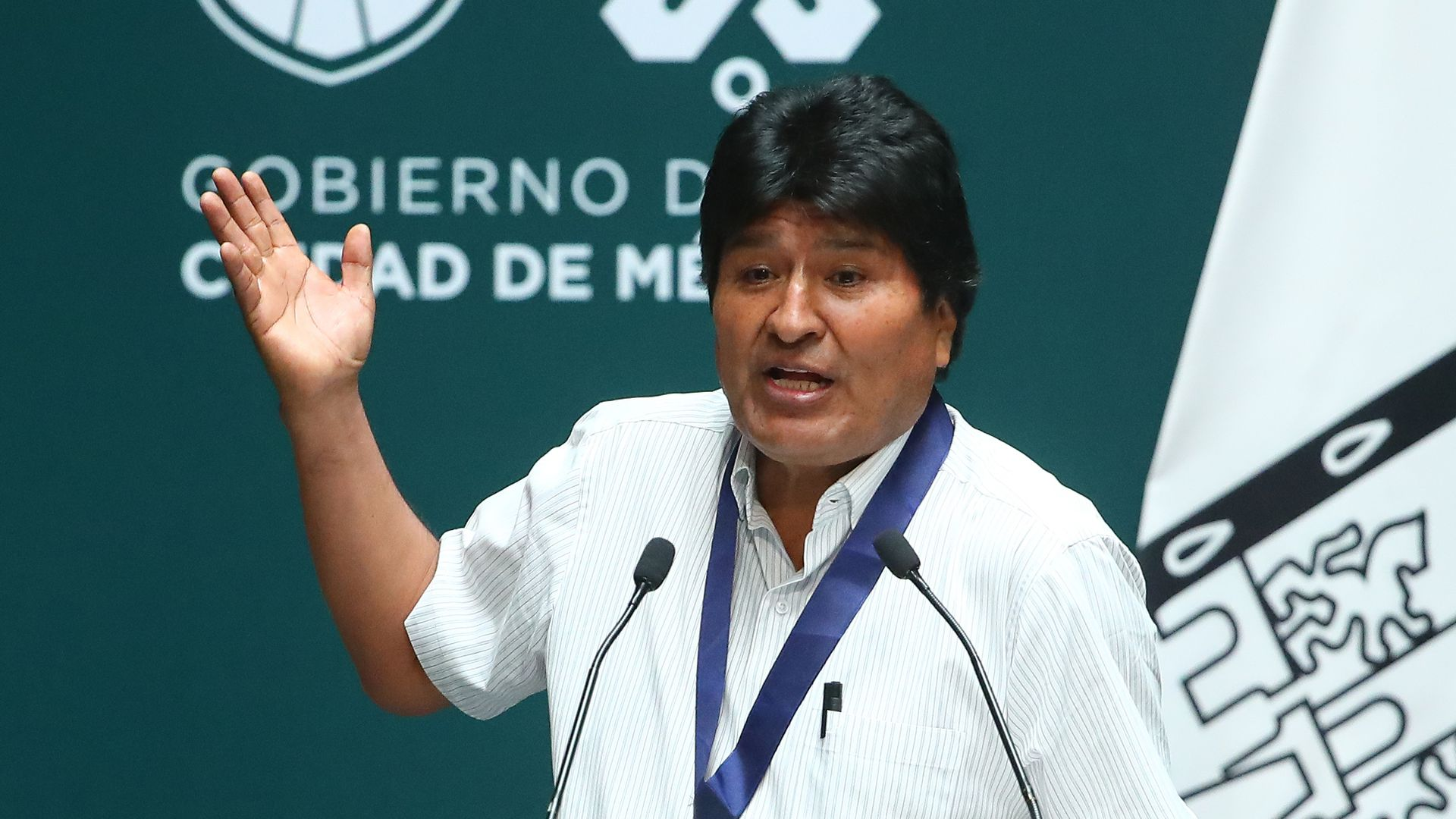 Former president of Bolivia Evo Morales speaks during an event honoring him at City Hall on November 13, 2019 in Mexico City, Mexico.