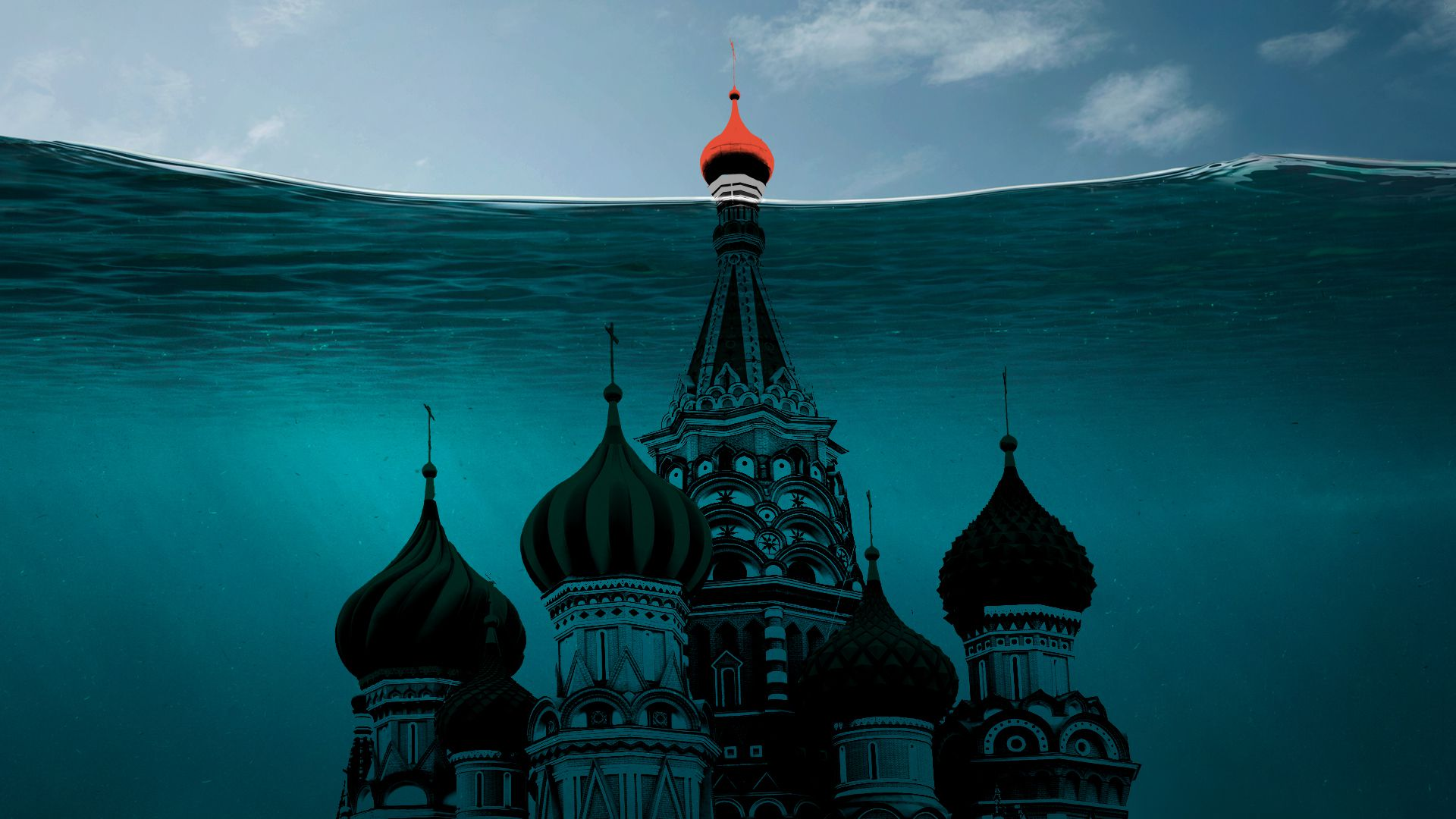 The tip of a Kremlin palace is visible, but the rest is underwater