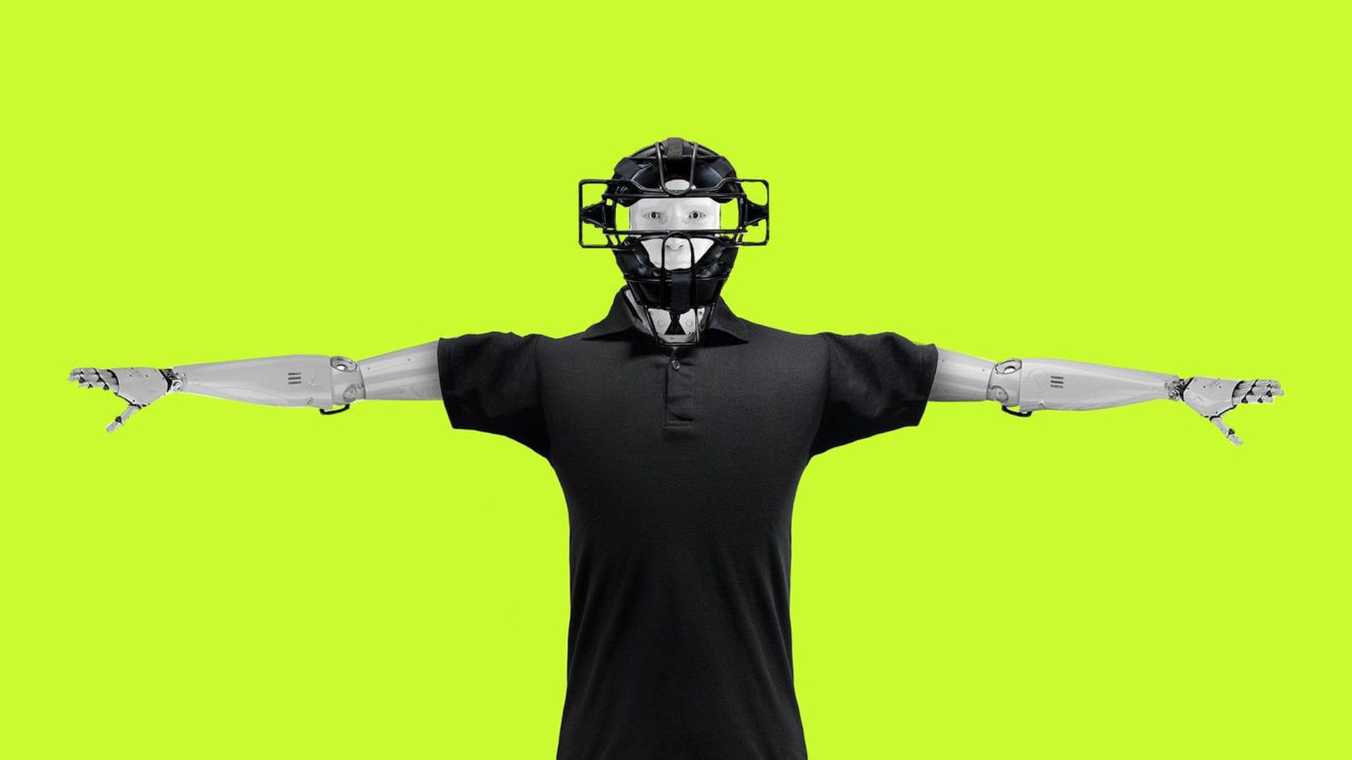 Illustration of a robot dressed up in umpire gear