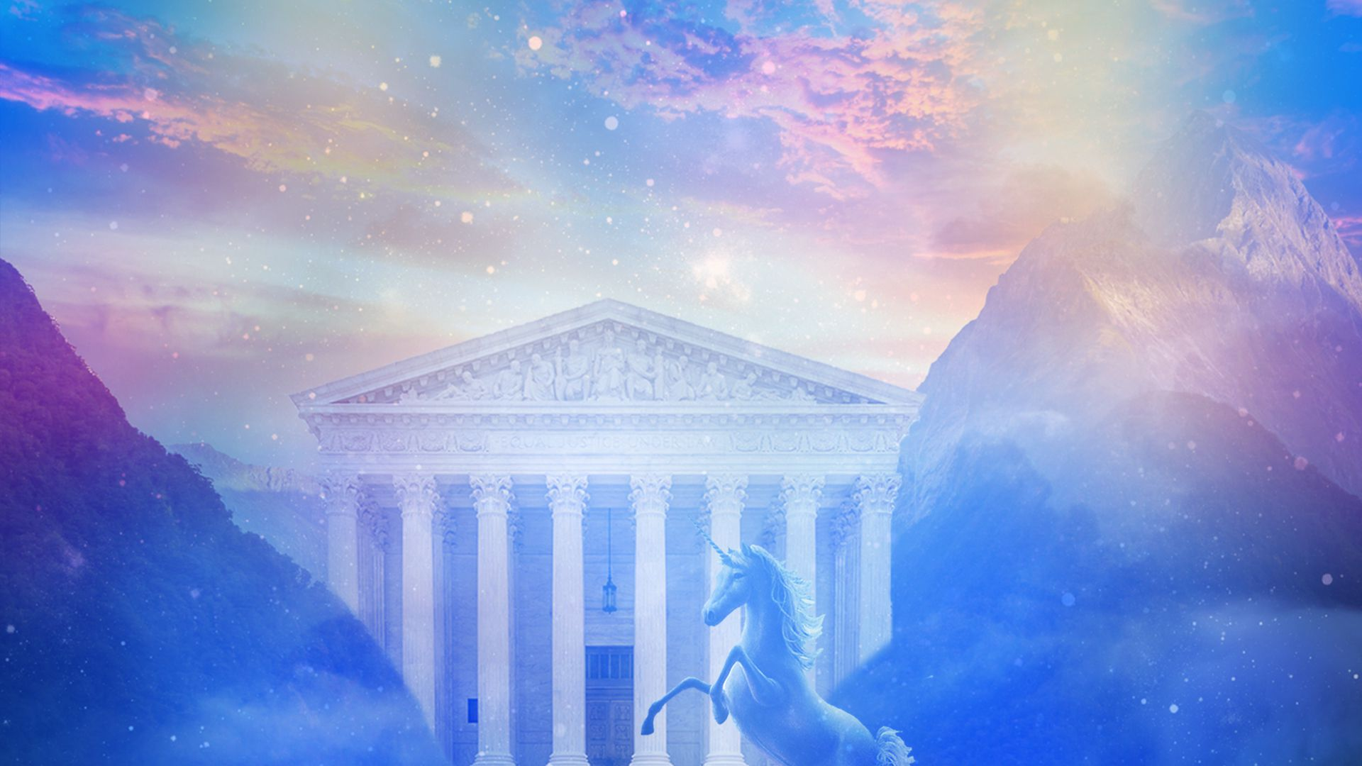 An illustration of the Supreme Court surrounded by pink and purple clouds with a unicorn in front of it