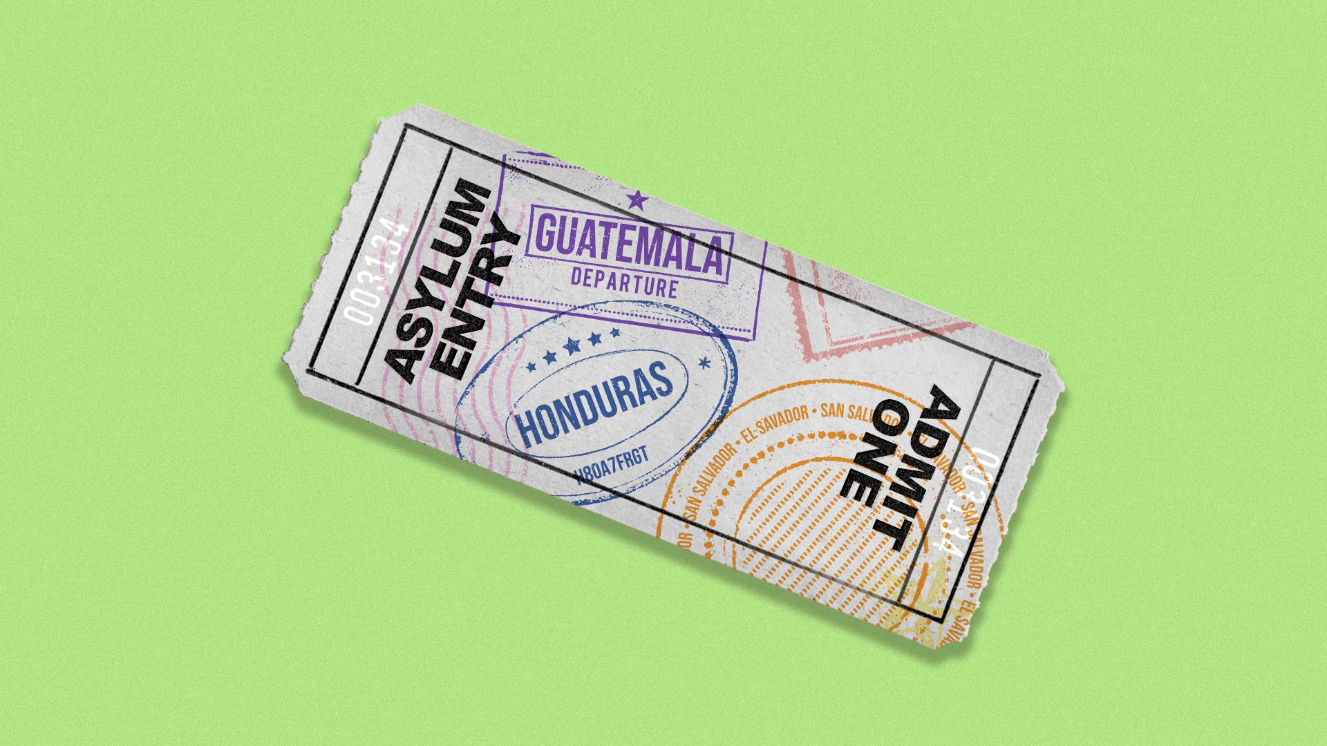 This is a metaphorical ticket for asylum, which immigrants in the migrant caravan are seeking