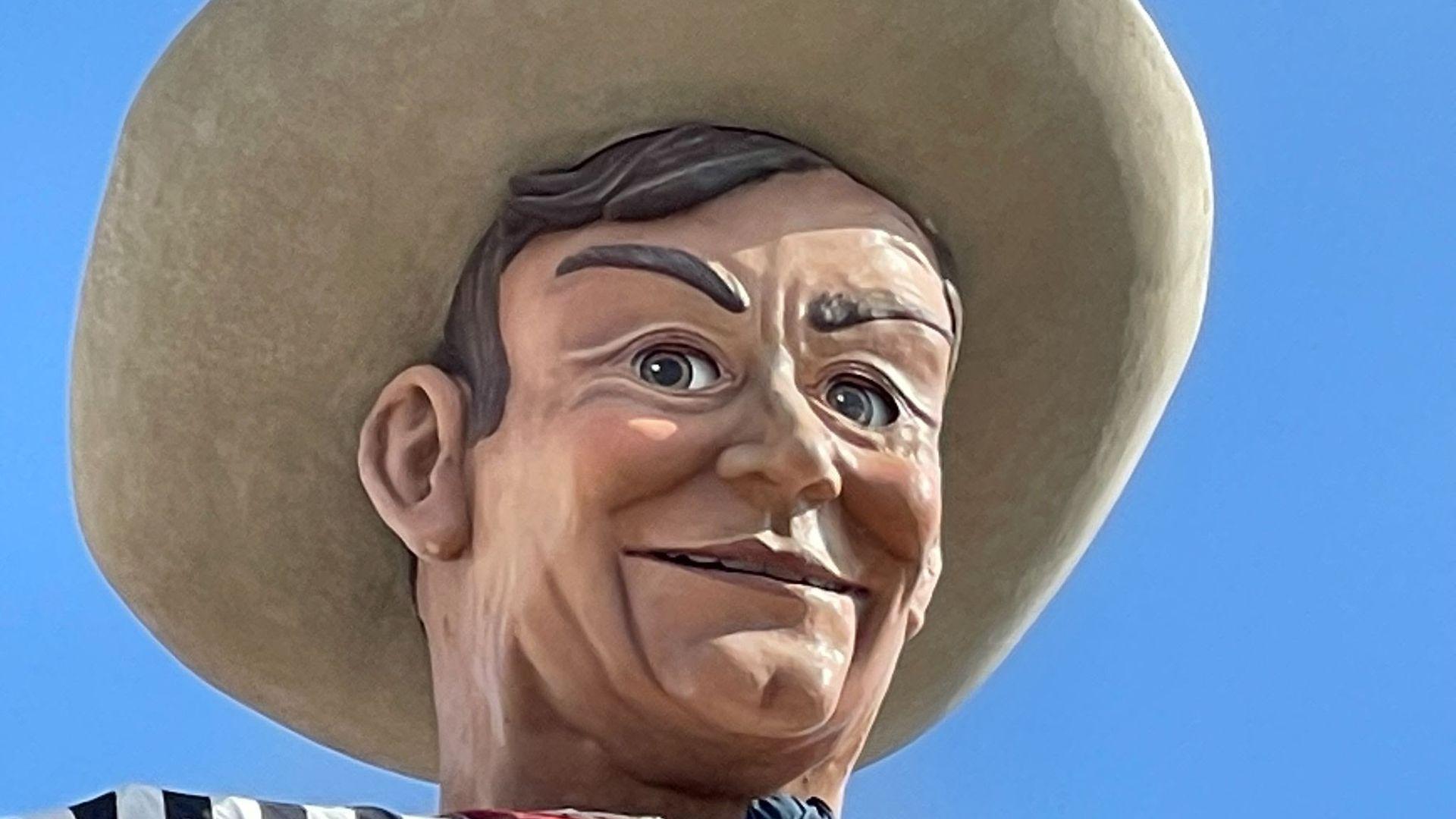 Big Tex, a tall cowboy at the State Fair of Texas.