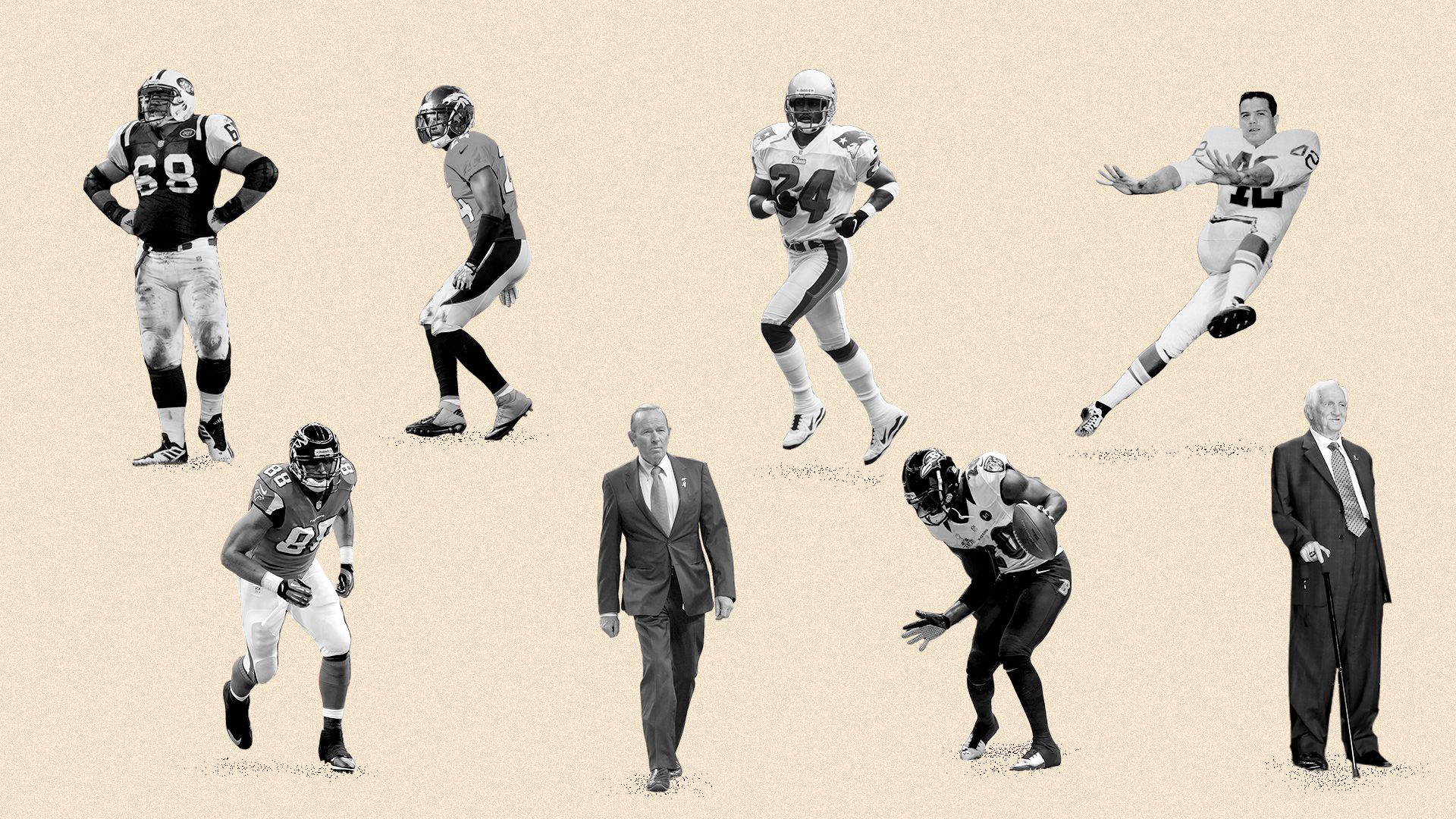 Illustration of Champ Bailey, Tony Gonzalez, Ty Law, Ed Reed, Johnny Robinson, Kevin Mawae, Pat Bowlen, and Gil Brandt