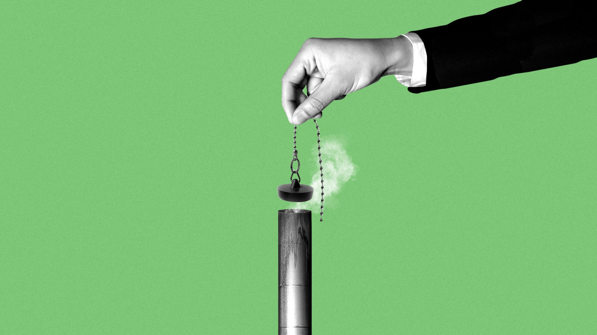 illustration of a hand plugging up a smoke stack