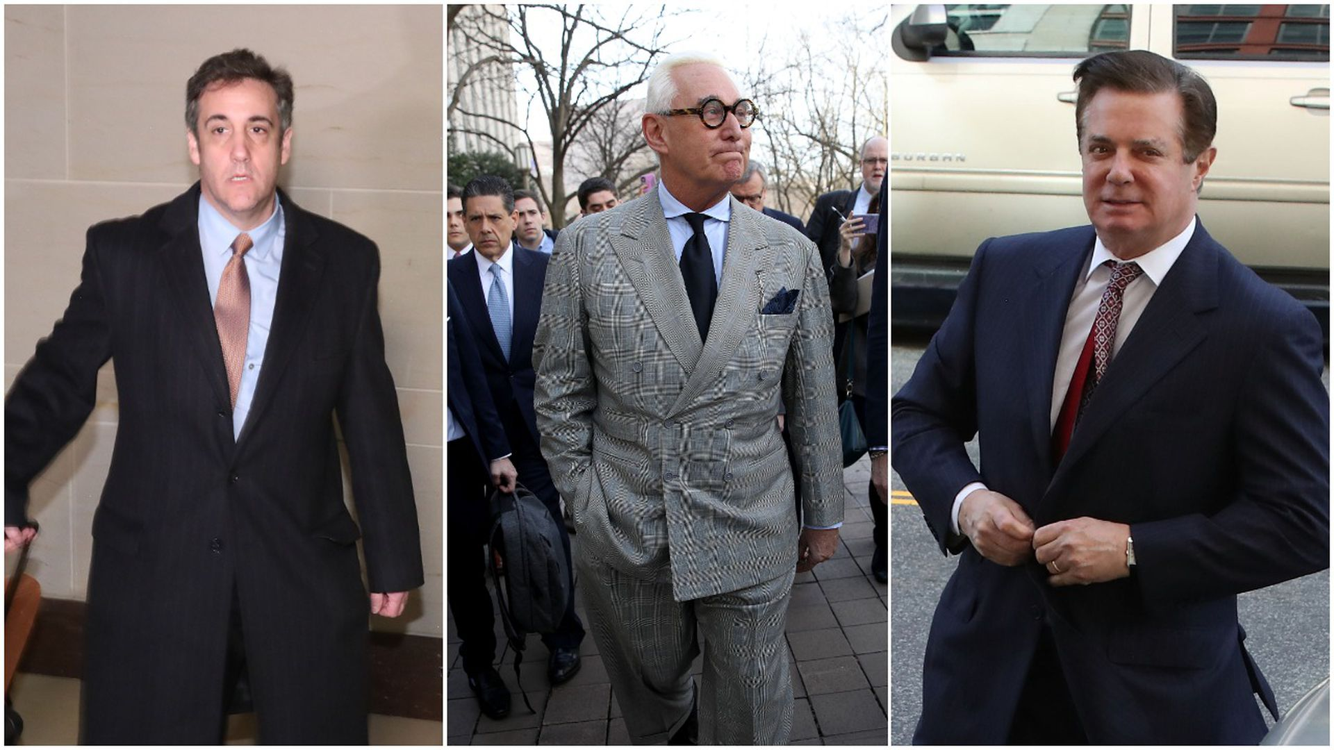 pic stitch of Michael Cohen, Roger Stone and Paul Manafort.