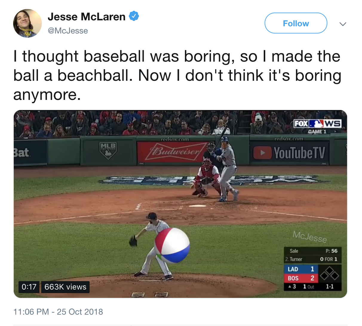 A Twitter user made the World Series more fun by transforming the baseball into a beachball