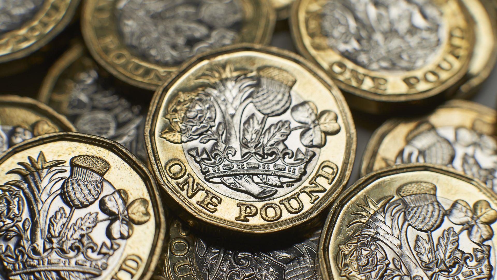 Close-up shot of UK money