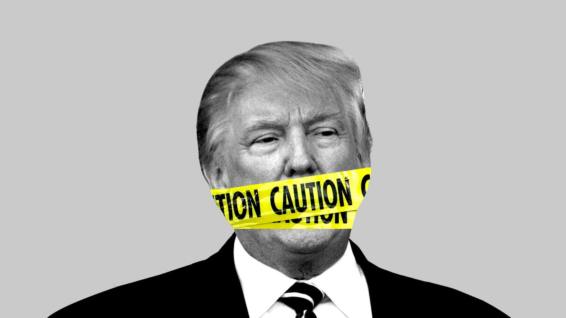 An illustration of caution tape over president Trump's mouth