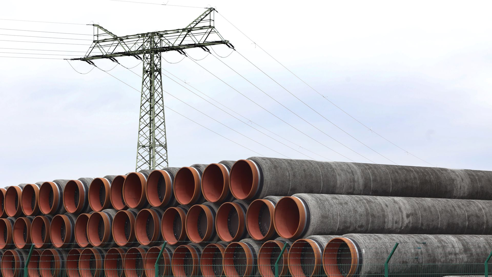 Pipes for the Nord Stream 2 natural gas pipeline are ready for collection at the port.