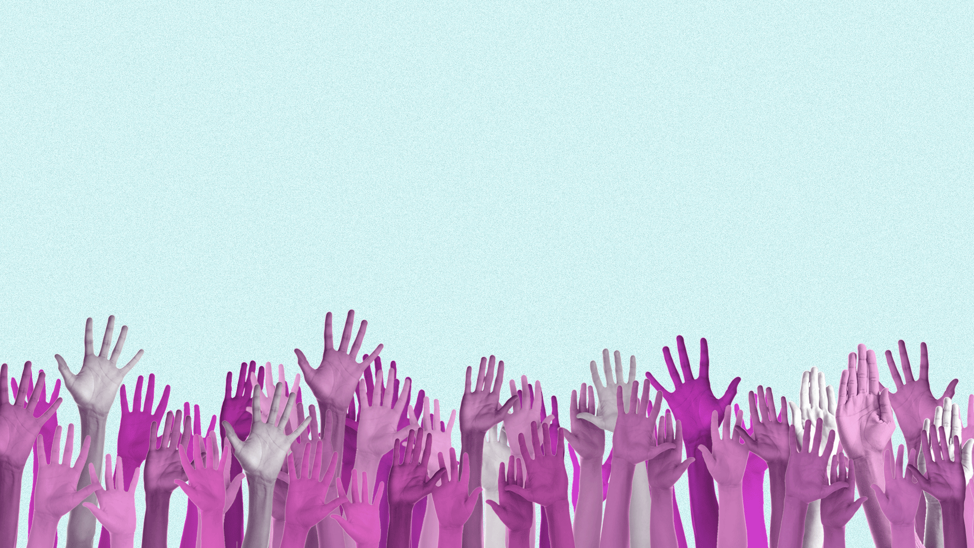 Illustration of a line of hands raised up in the air.