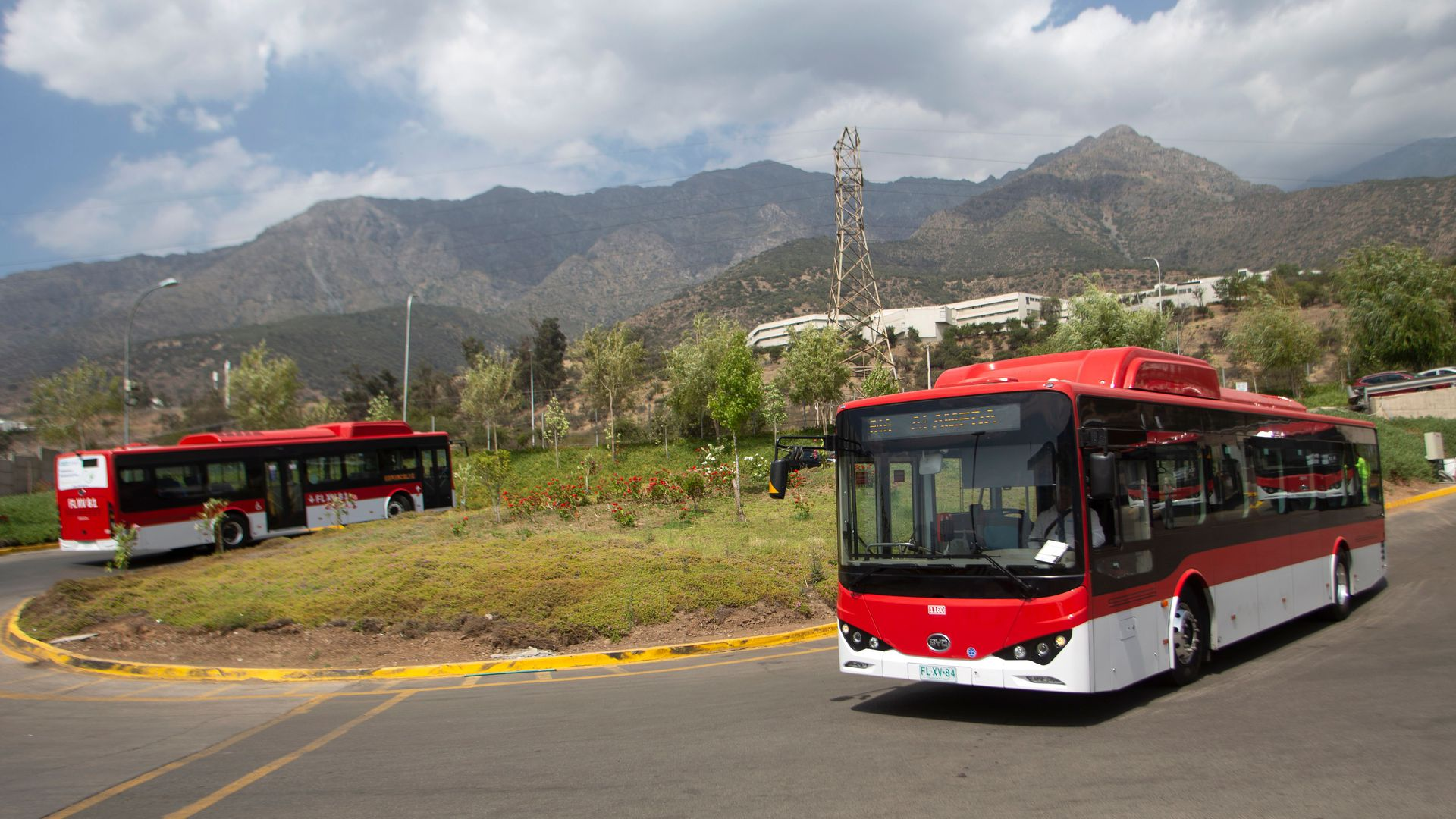 Electric buses on the road in Santiago, Chile