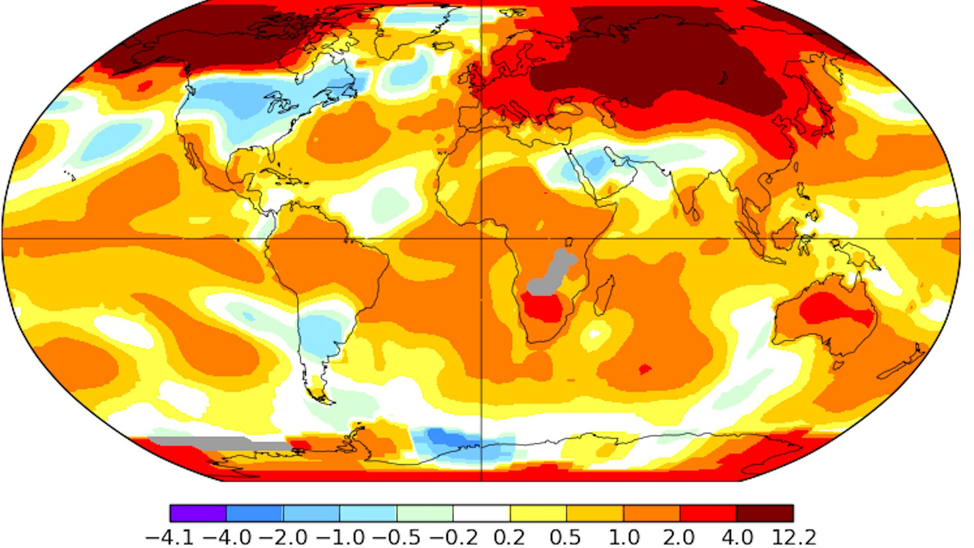 Global average temperature anomalies for March 2019 compared to the 1951-1980 average.