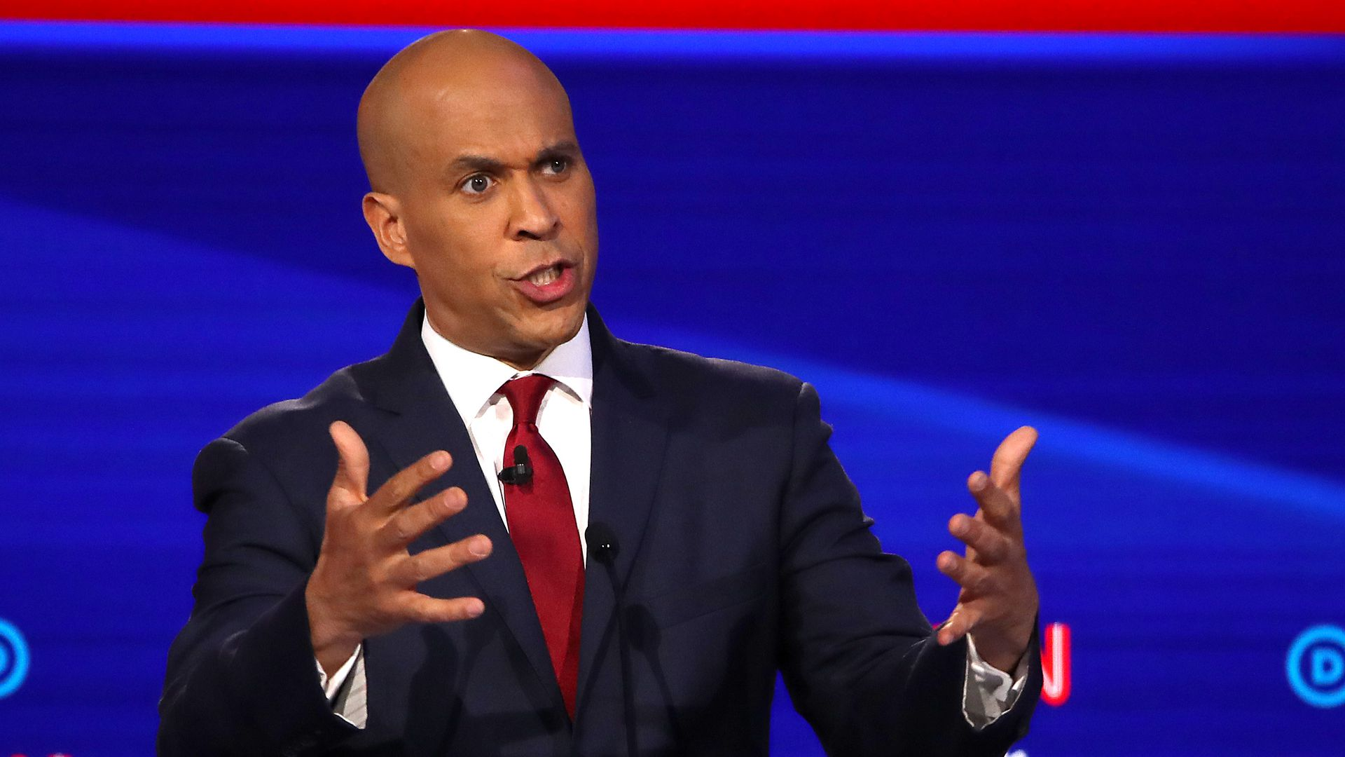 Sen. Cory Booker (D-NJ) speaks during the Democratic Presidential Debate at Otterbein University on October 15, 2019 in Westerville, Ohio.