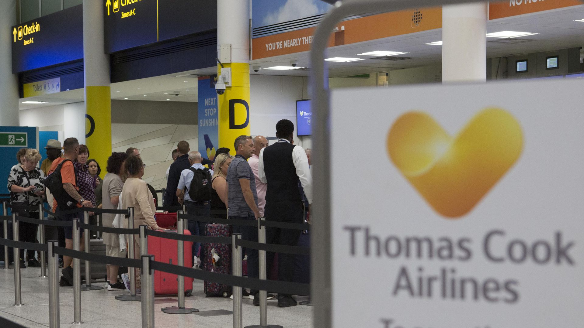 A general view of the Thomas Cook check-in desks in the South Terminal of Gatwick Airport.