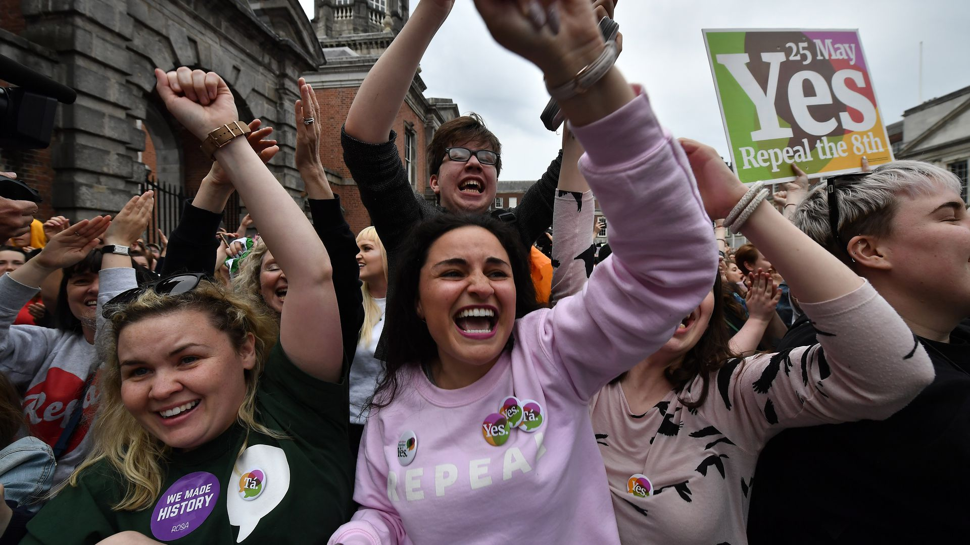 Yes voters celebrate as the result of the Irish referendum on the 8th amendment.
