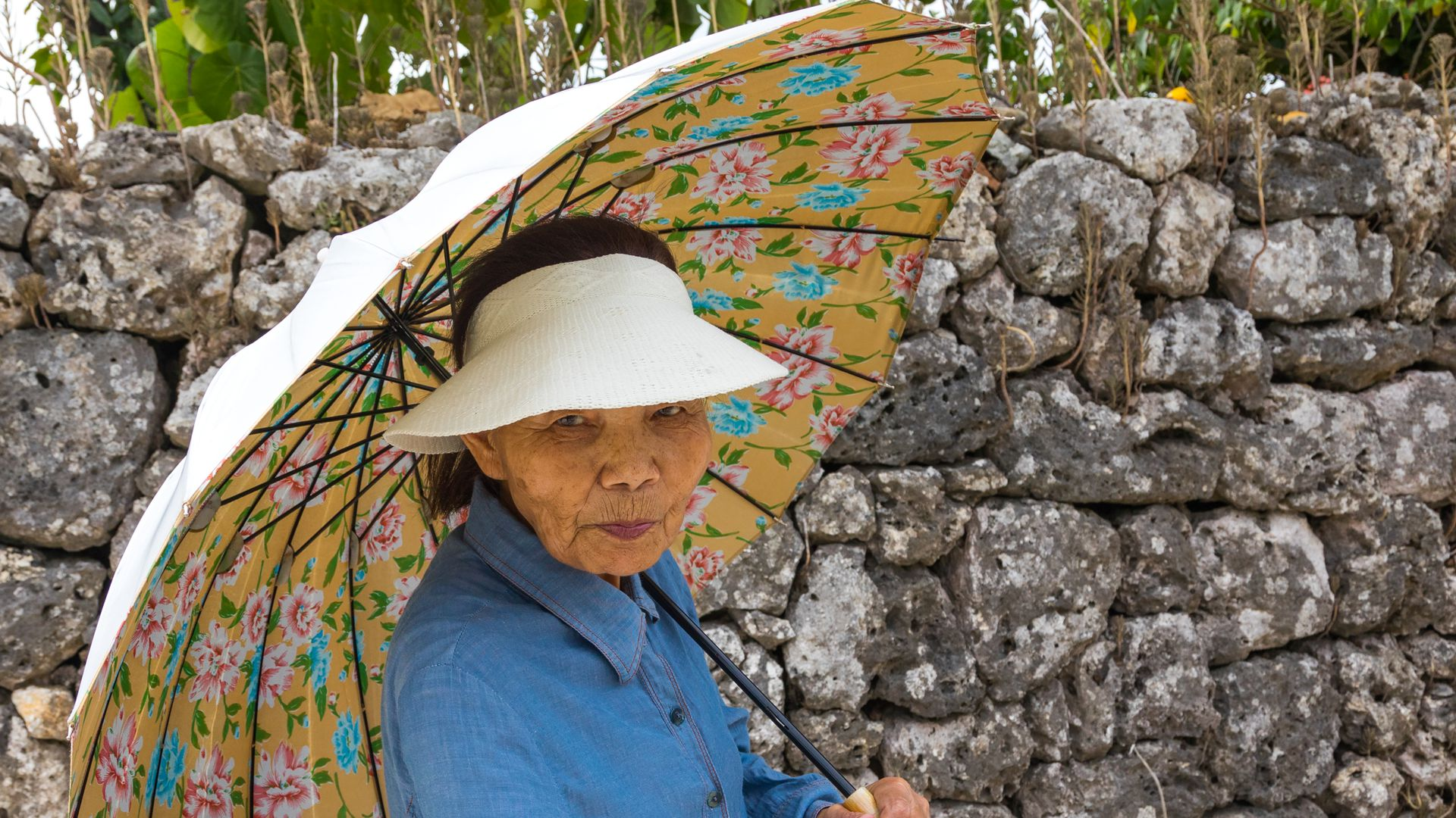 Elderly Japanese woman with an umbrella