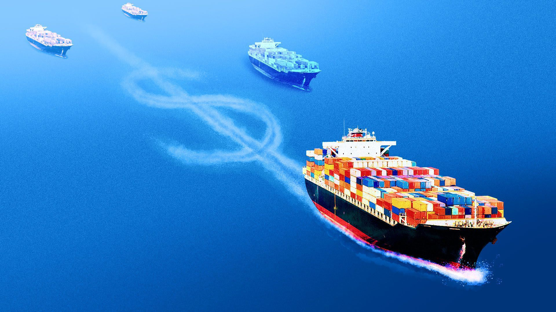 Illustration of a ship leaving a dollar sign in its wake