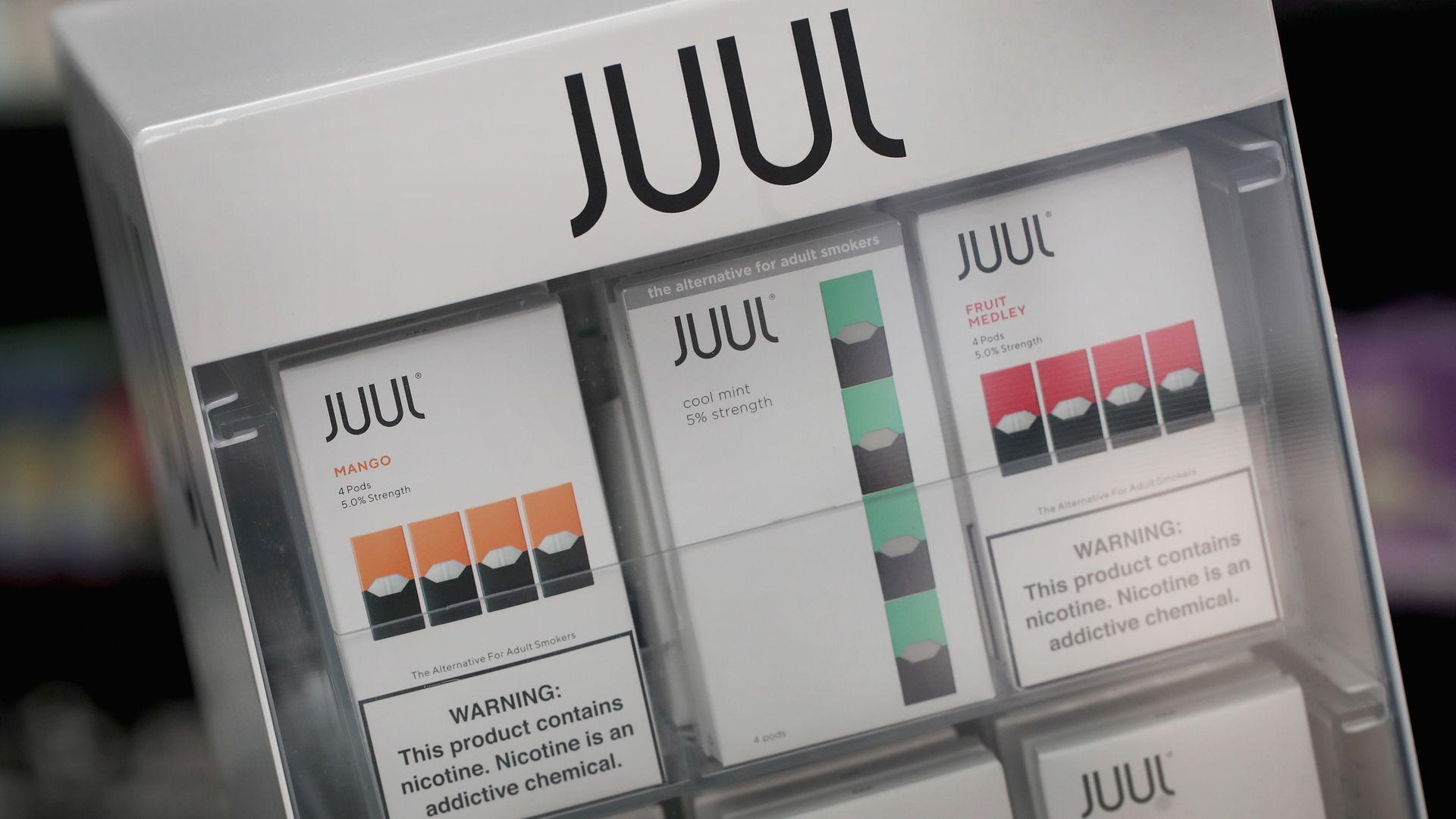 A display of JuUl cartridges.