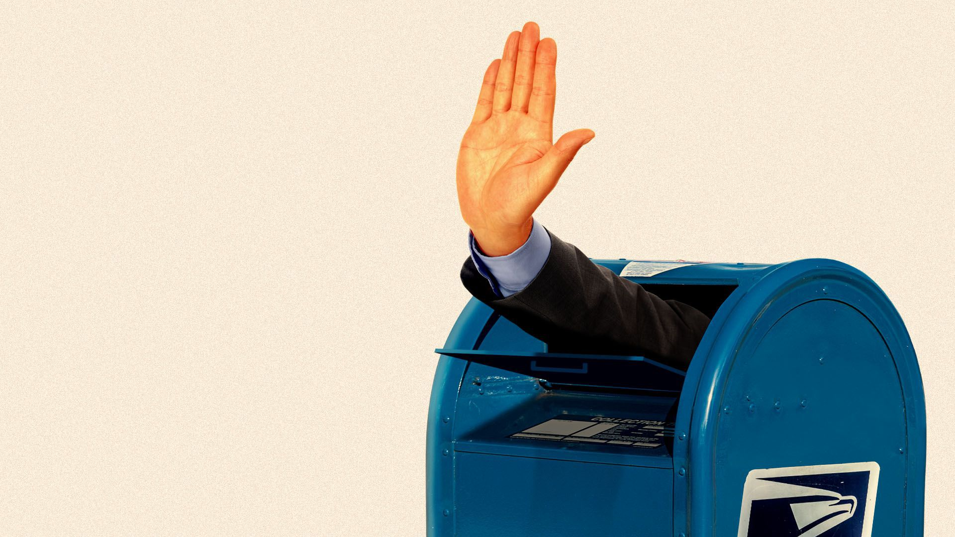 Illustration of a hand making a stopping motion coming out of a USPS mailbox