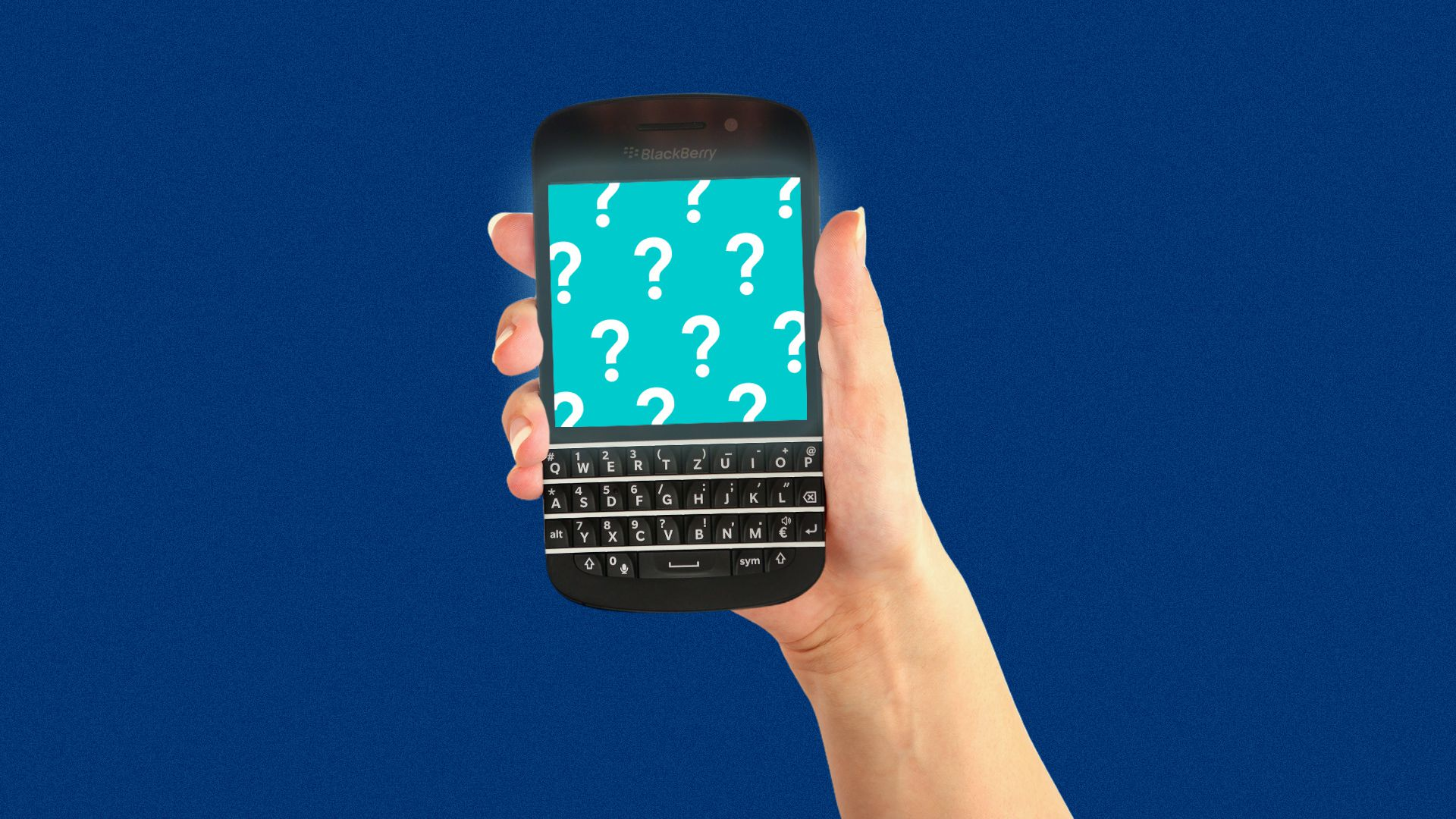 Illustration of a hand holding a BlackBerry phone with question marks on the screen.