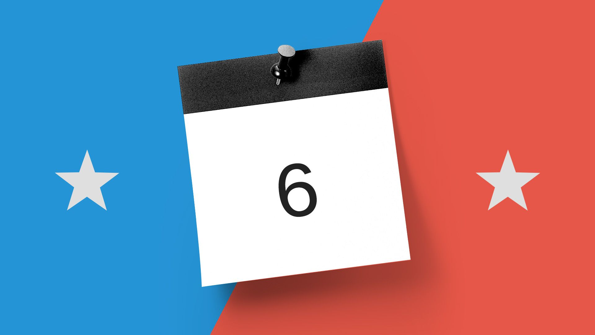 Illustration of calendar page with number of days until the midterm election -- six