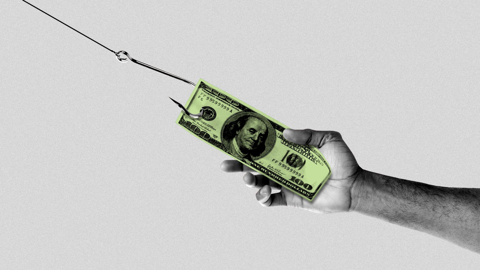 Illustration of a hundred dollar bill on a fish hook being pulled away from an open hand.