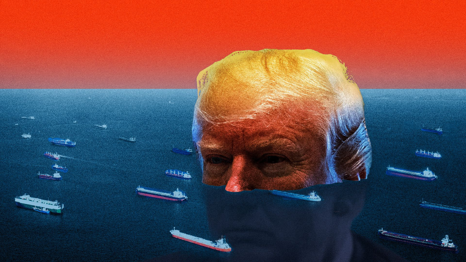 Illustration of President Trump's giant head half submerged in ocean with nuclear sub ships floating around