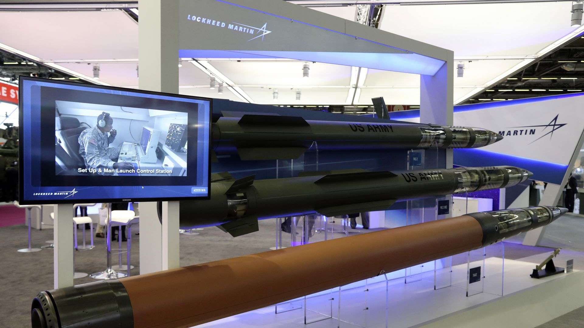 Lockheed Martin missiles on display at a defense trade show