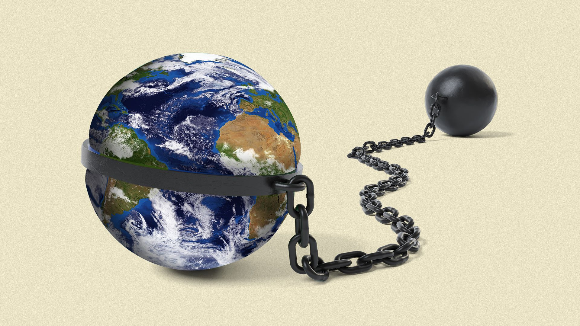 Illustration of the Earth with a ball and chain, chained to it.