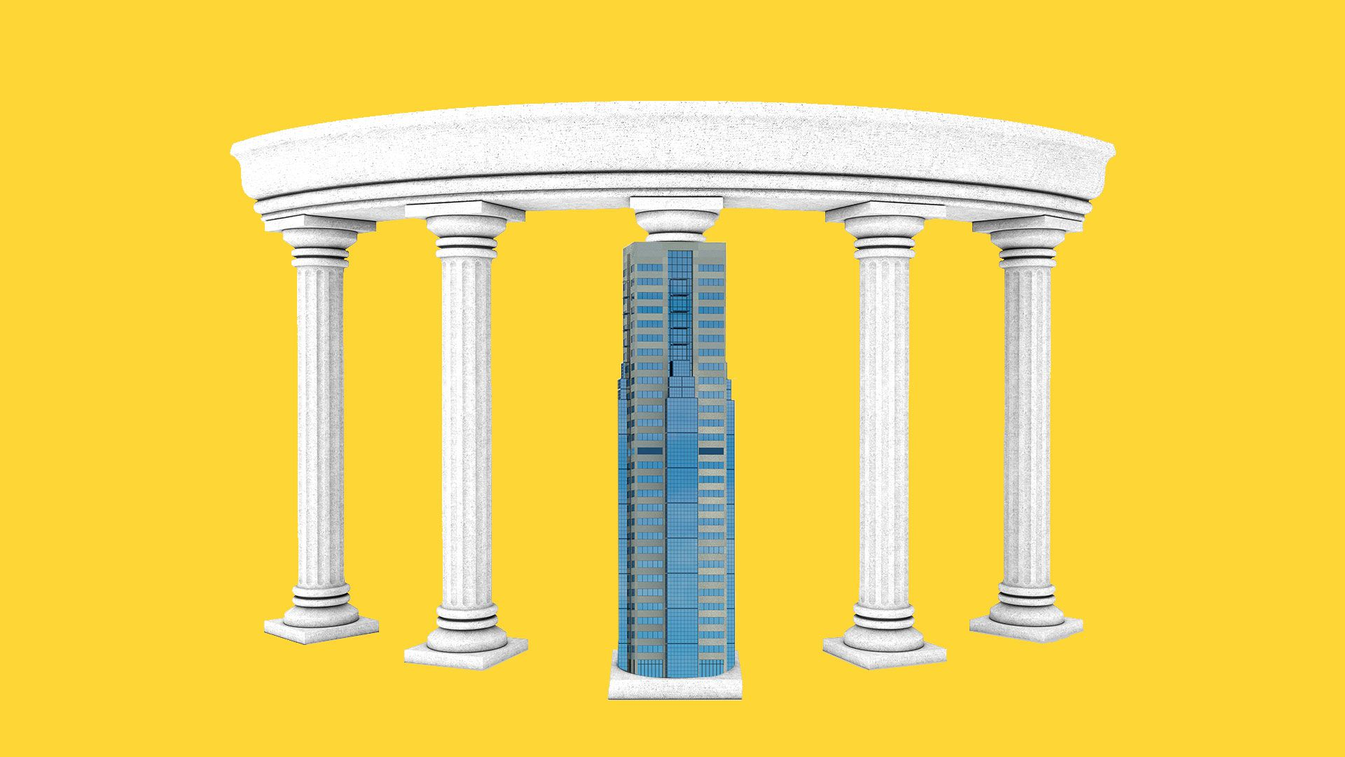 Illustration of a circle of columns with the center column replaced by a skyscraper