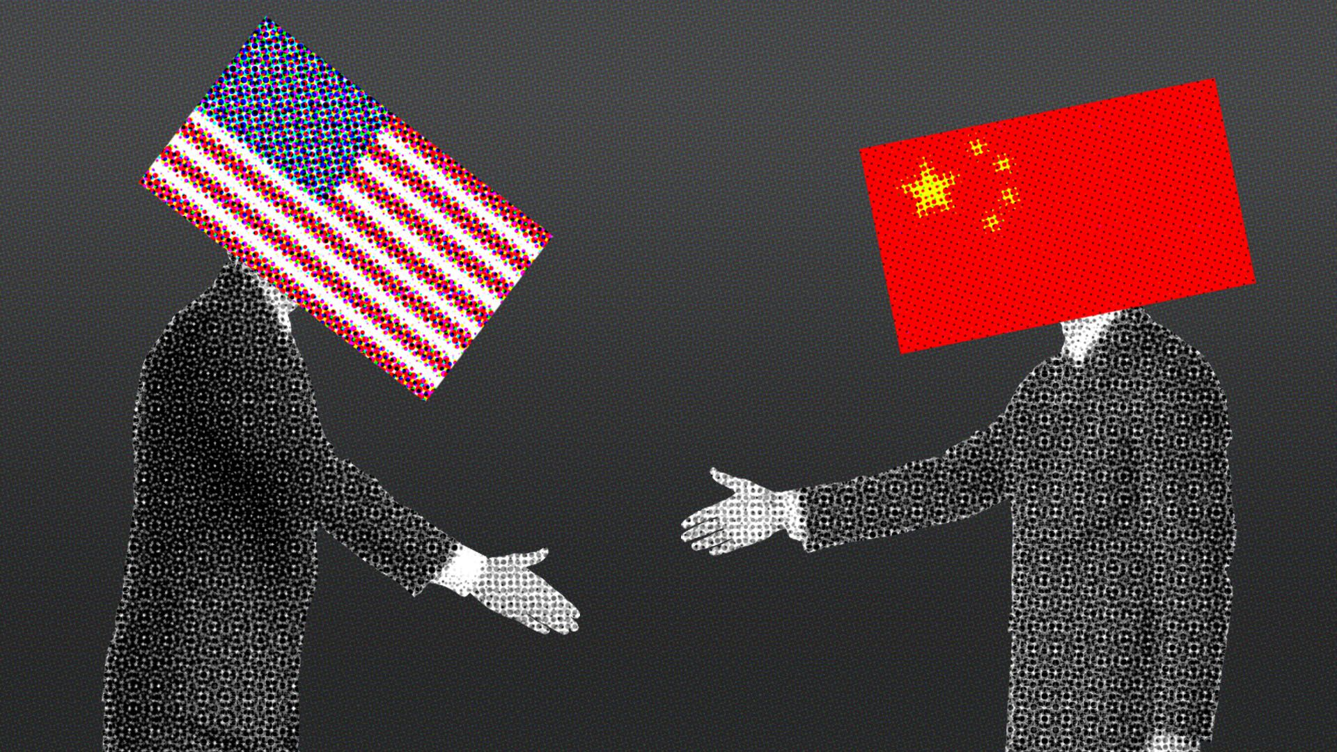 Illustration of two businessmen with a Chinese flag and a U.S. flag standing far apart