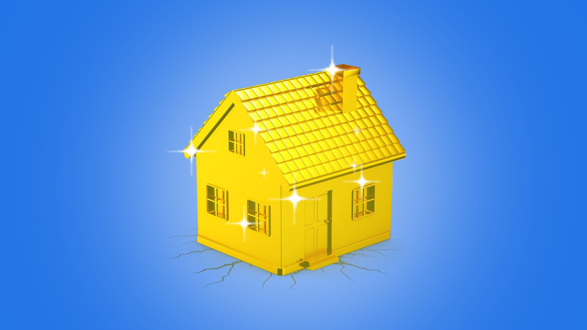 Illustration of a heavy golden house, glimmering.
