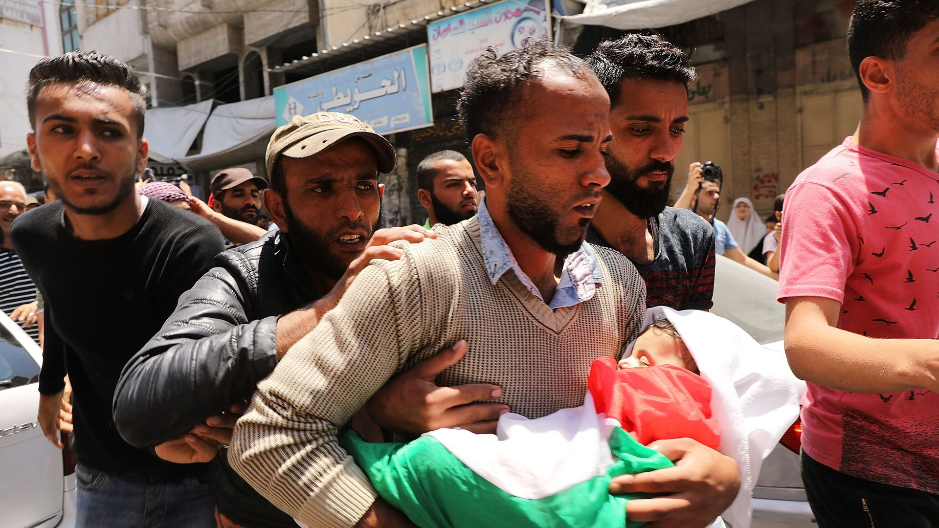 Palestinians holding funerals