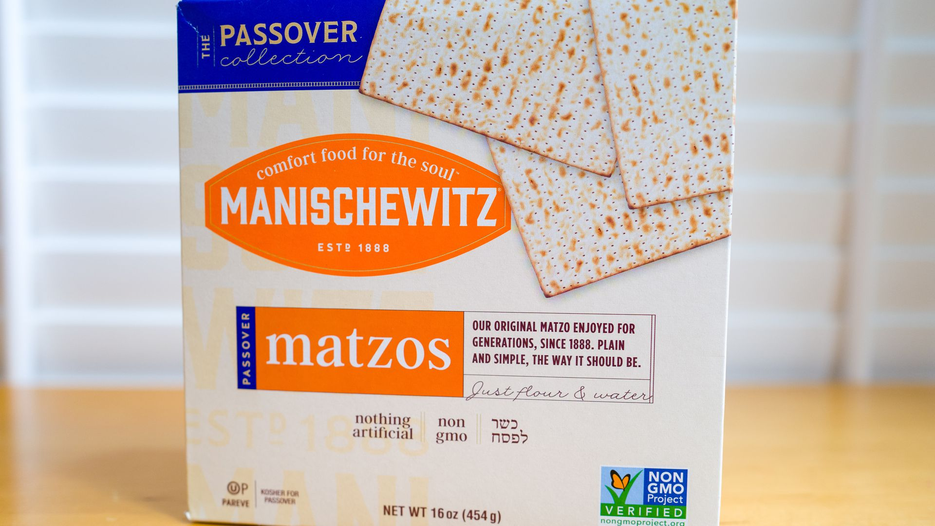 Close-up of a box of Kosher for Passover Matzos bread from Manischewitz