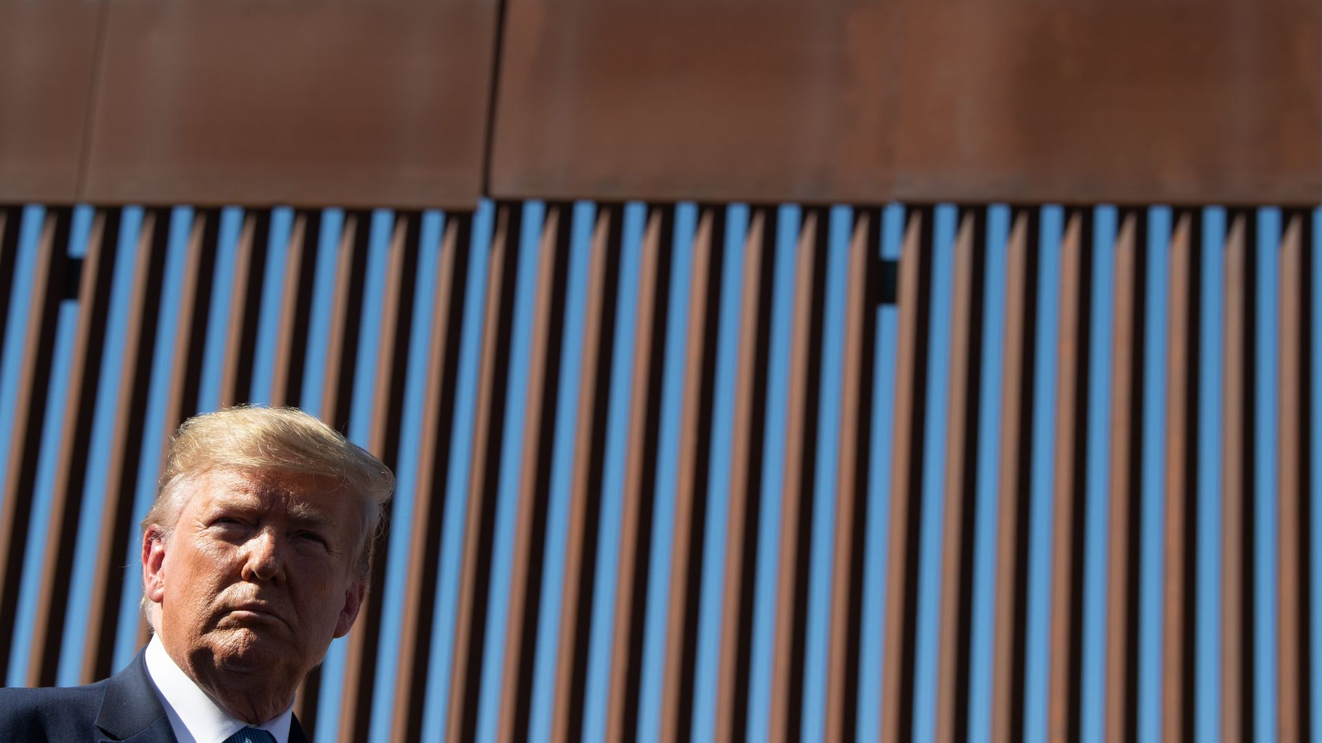 Donald Trump's head in the bottom left corner with the border wall — with metal slats — in the background.