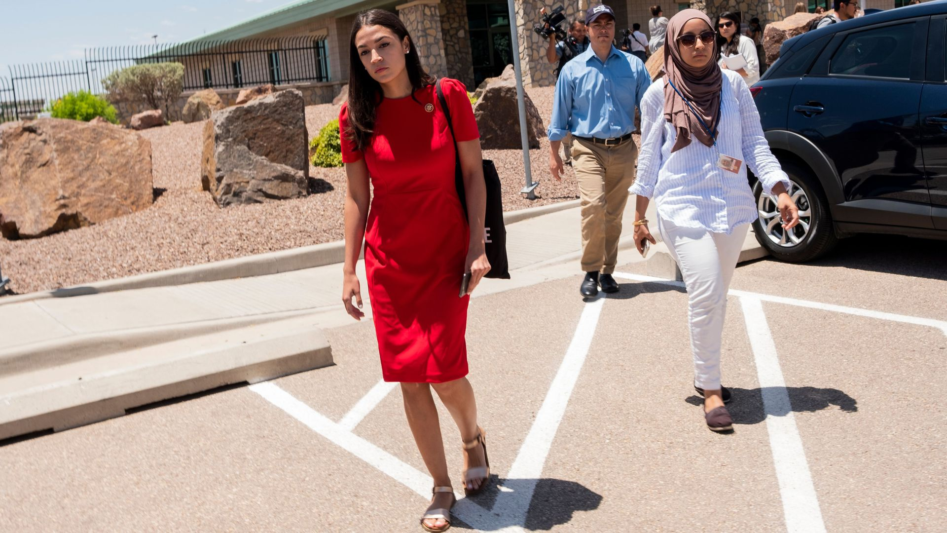 US Representative Alexandria Ocasio-Cortez (D-NY) attends with 14 members of the Congressional Hispanic Caucus a tour to Border Patrol facilities and migrant detention centers on July 1.
