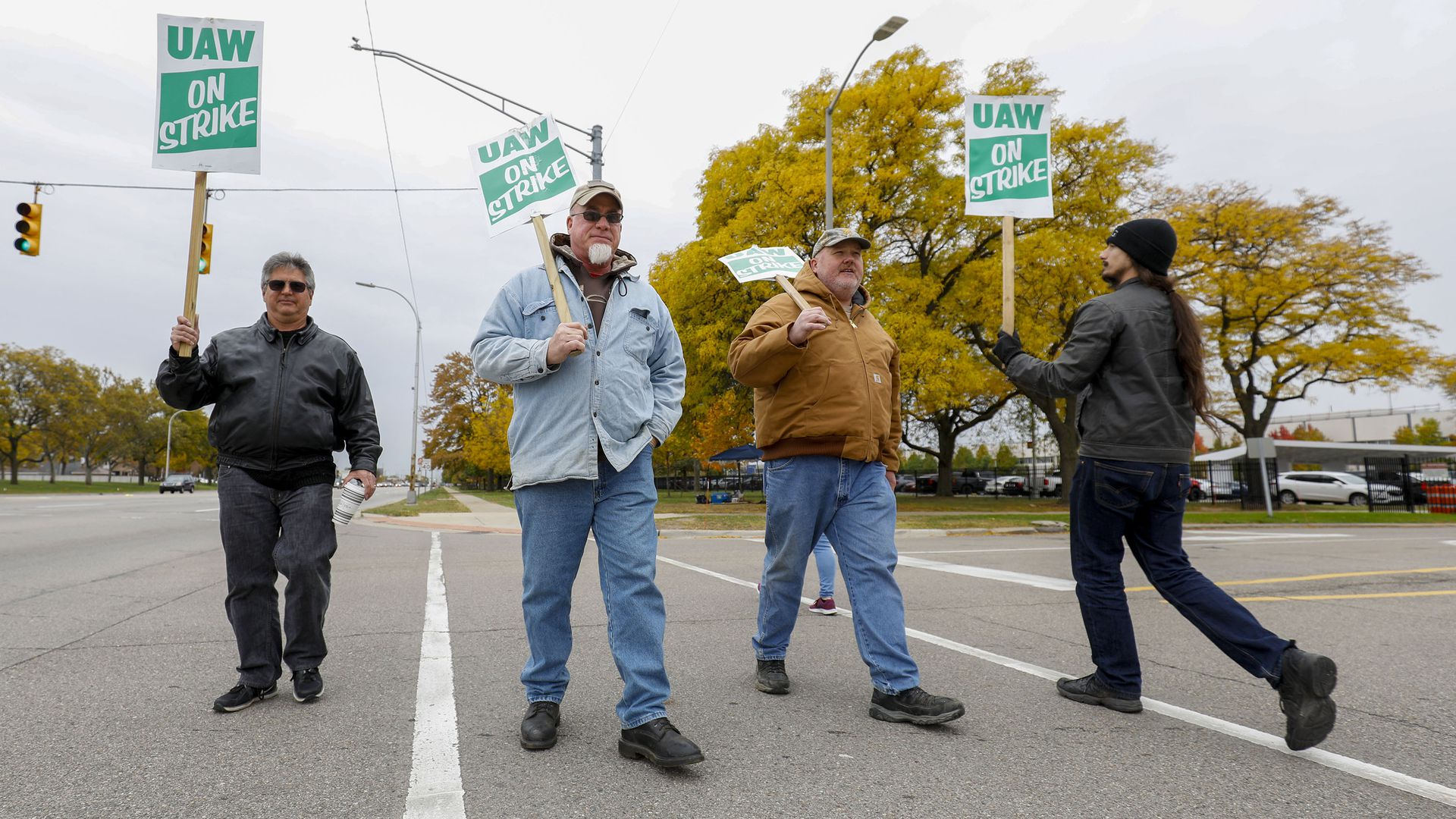 United Auto Workers union members picket at the General Motors Tech Center for the sixth week of their national strike against General Motors