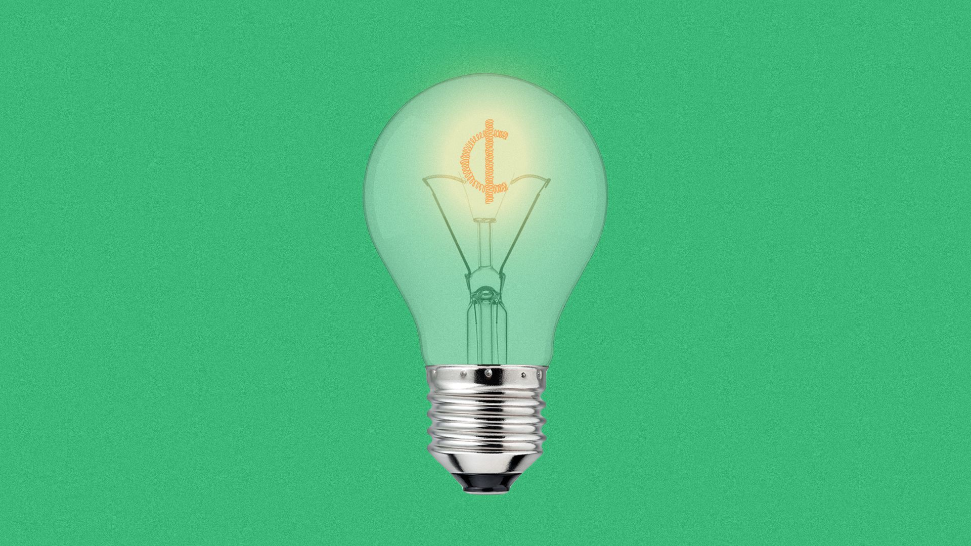 Illustration of a light bulb with the filament in the shape of a cent symbol.