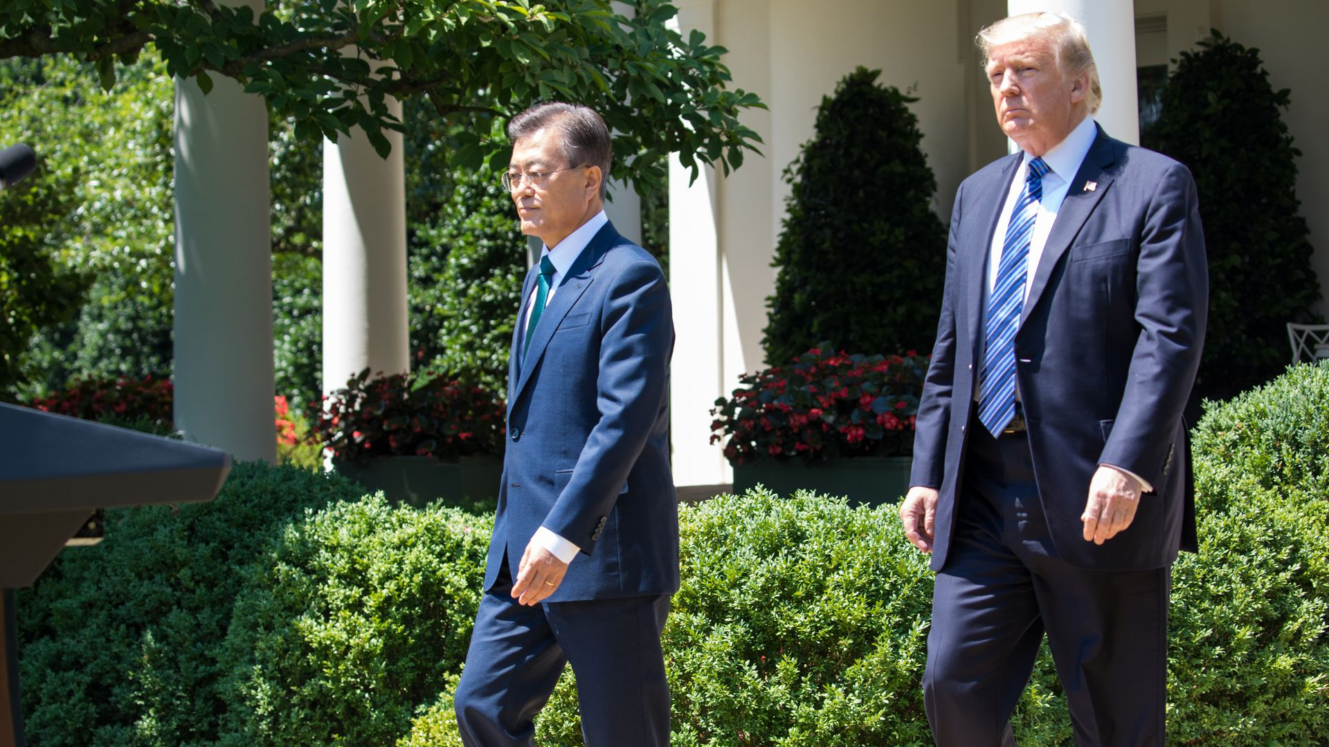 President Moon of the Republic of Korea, and U.S. President Trump walk from the Oval Office for their joint press conference