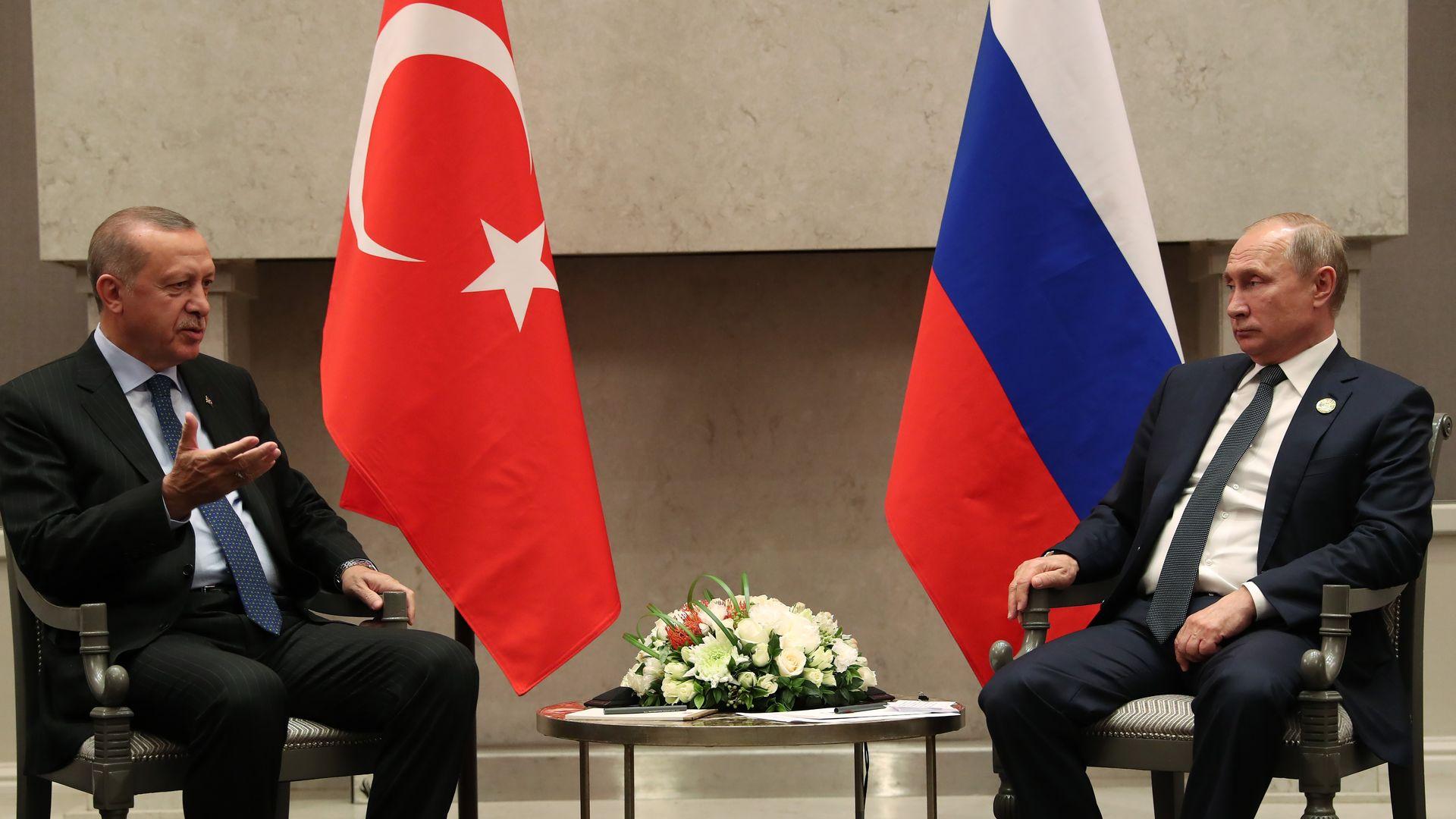 Turkish President Recep Tayyip Erdogan meets Russian President Vladimir Putin.