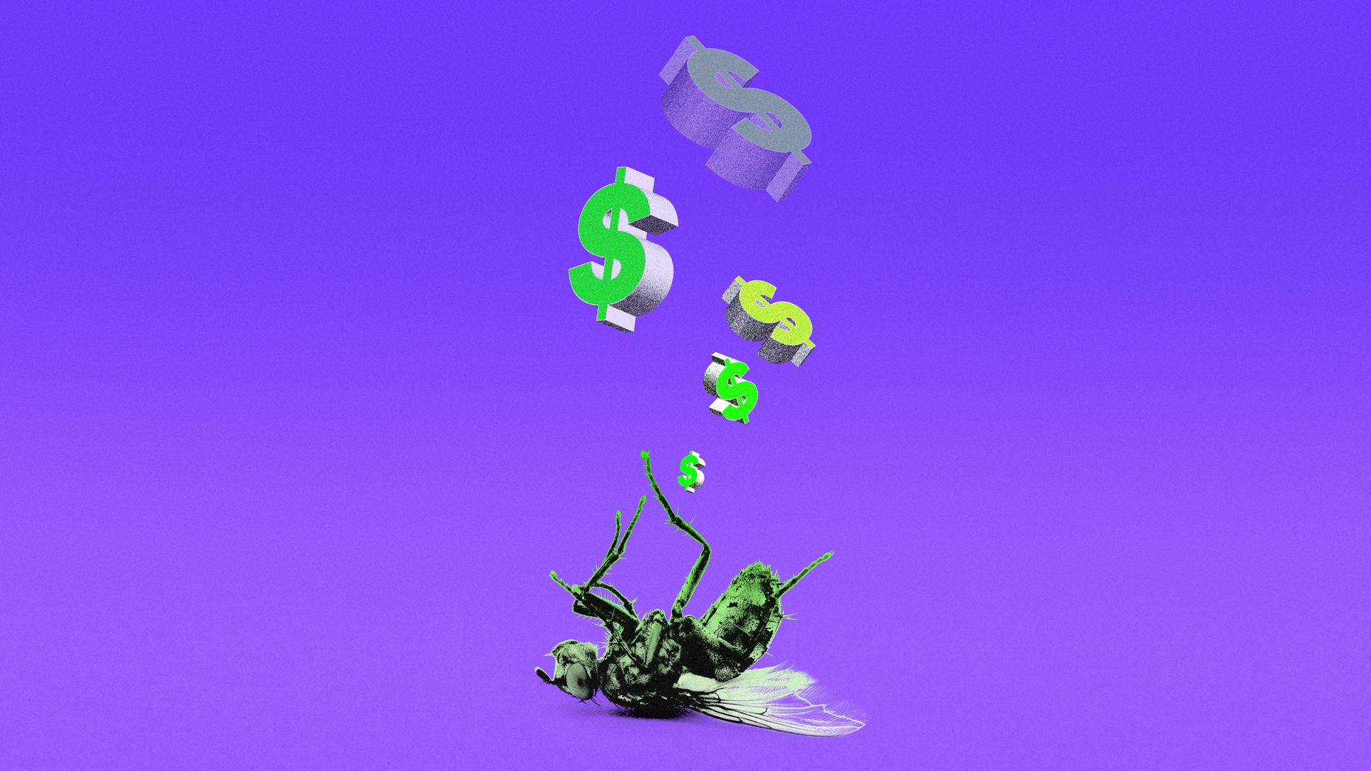 Dead insect with dollar signs floating above it
