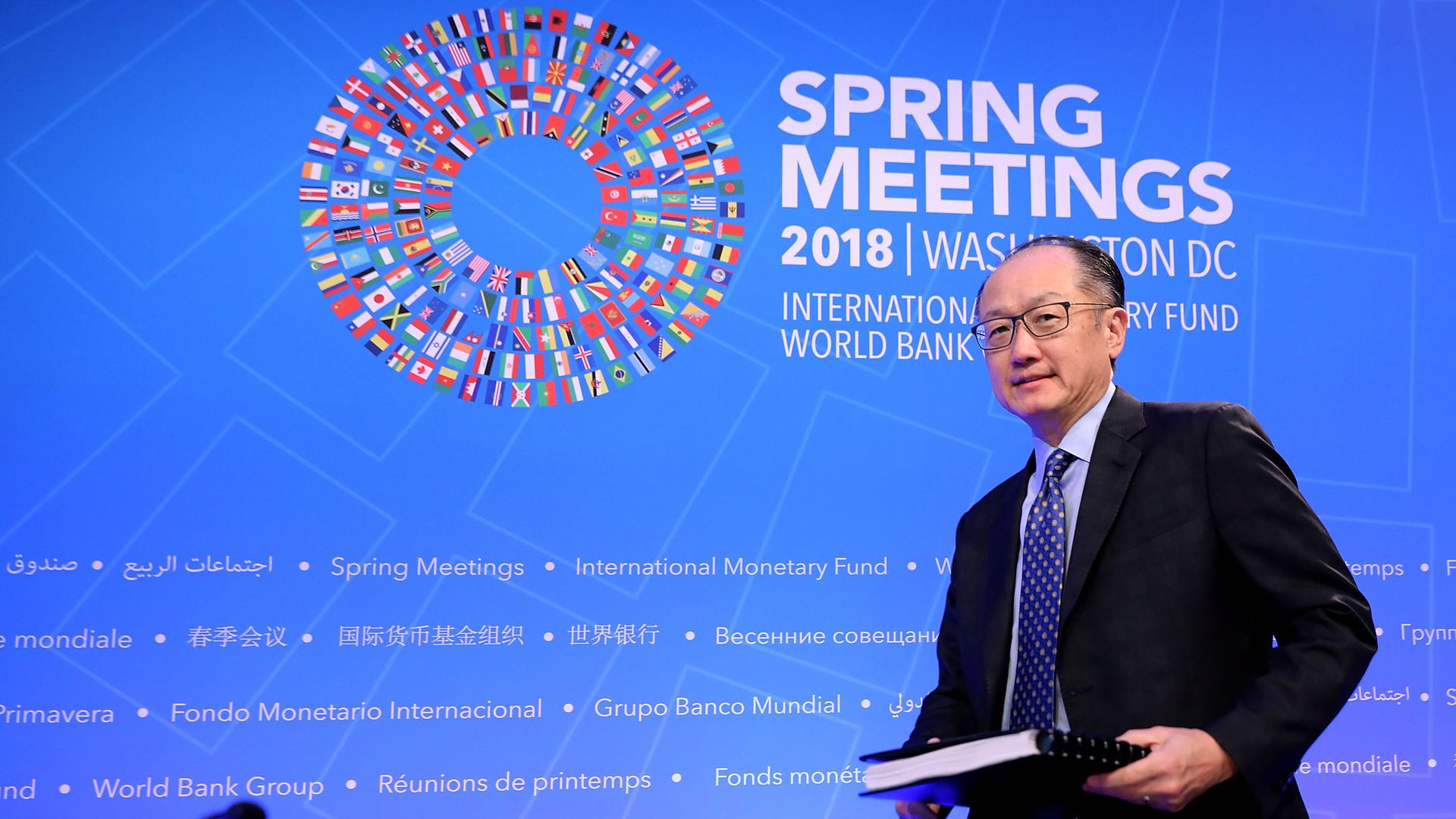 World Bank President Jim Yong Kim arrives for a news conference at International Monetary Fund Headquarters April 19, 2018 in Washington, DC.
