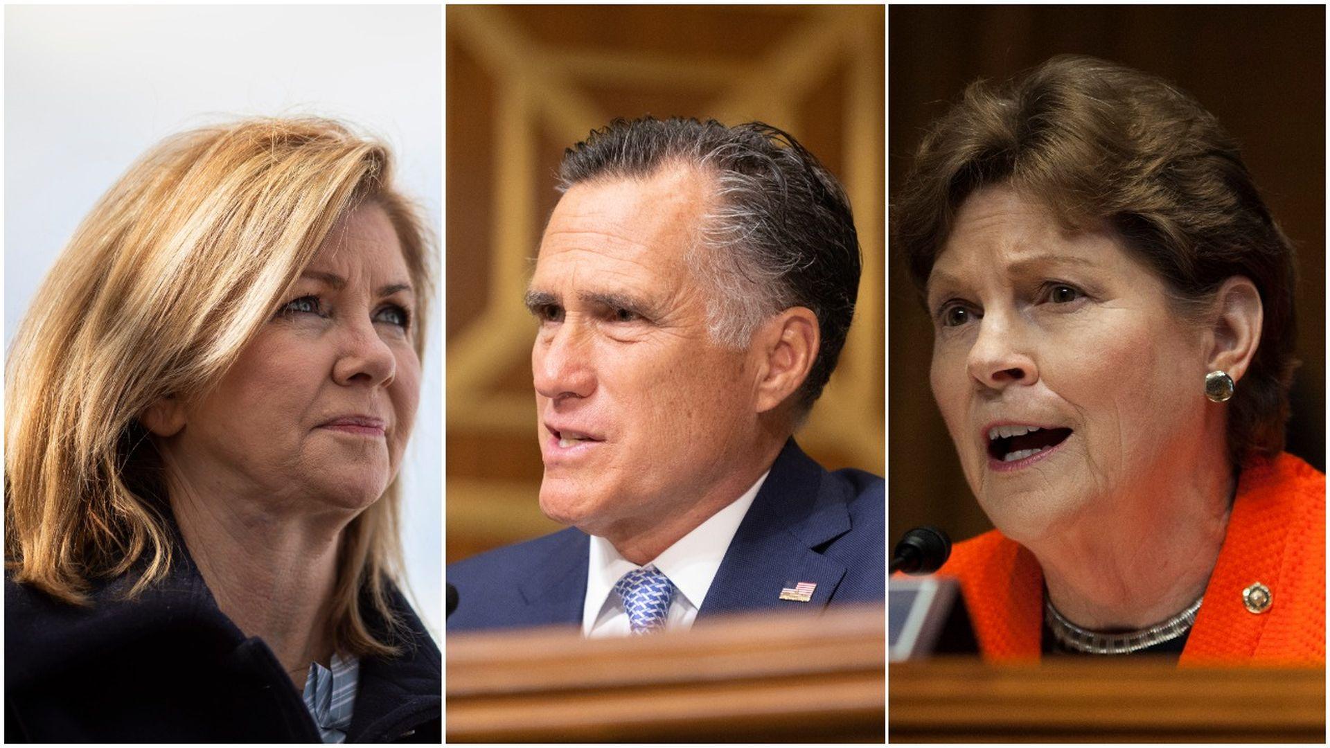 Senators Marsha Blackburn, Mitt Romney and Jeanne Shaheen