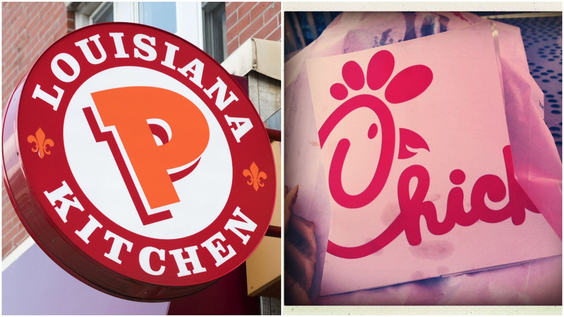 pic stitch of popeyes chicken sign and chick-fil-a sandwich