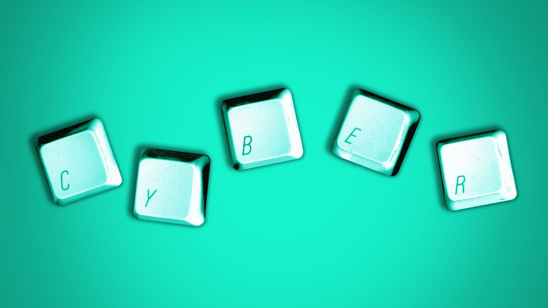 Illustration of detached computer keys spelling out the word cyber