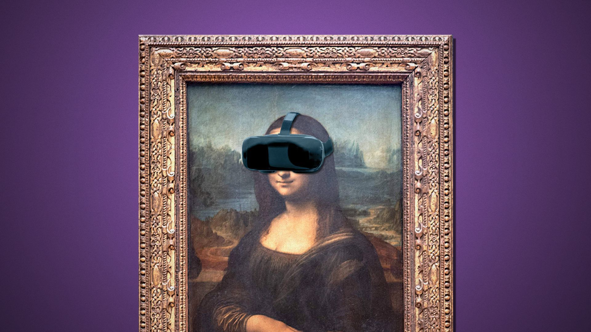 Illustration of a framed painting of Mona Lisa wearing a VR headset.