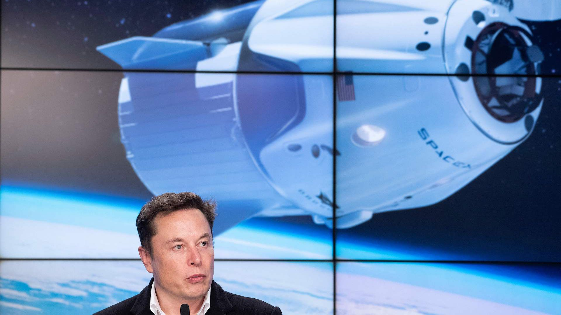 SpaceX CEO Elon Musk holds a press conference about his company's Crew Dragon spacecraft.
