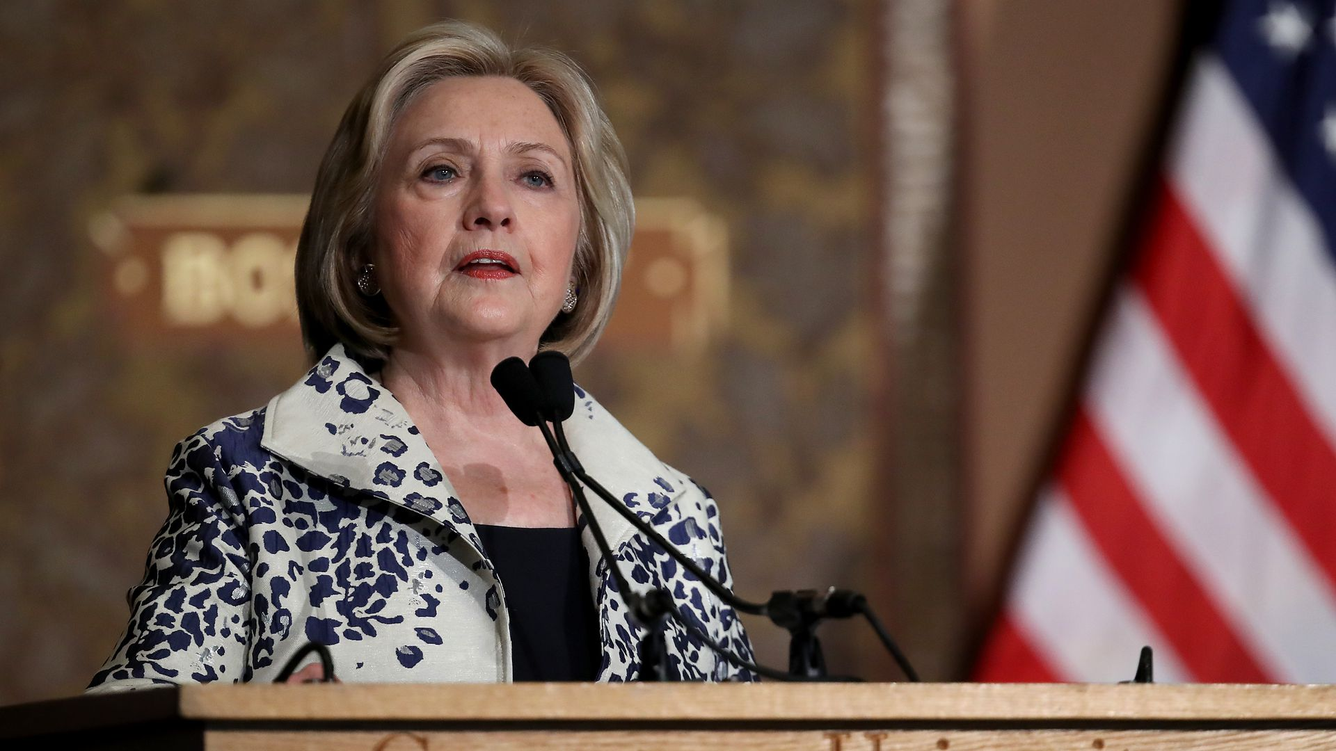 Former U.S. Secretary of State Hillary Clinton speaks at Georgetown University September 27