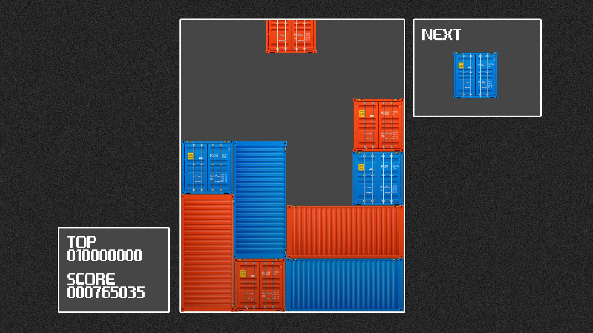 Illustration of a Tetris interface with red and blue shipping containers as the blocks.